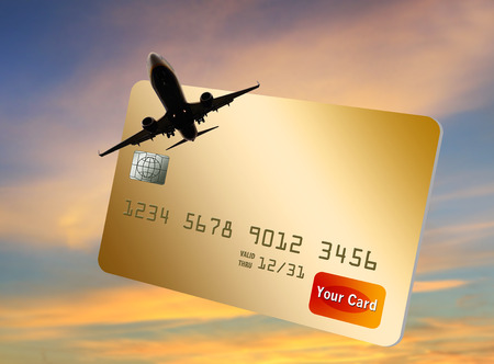 This is a generic air miles reward credit card illustration. Stock Photo