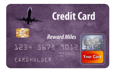 This is a generic air miles reward credit card illustration.credit card, air rewards, air miles, miles, rewards, frequent flier, frequent flyer, isolated, airplane, generic, illustration, points Stock Photo