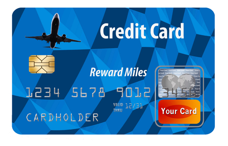 This is a generic air miles reward credit card illustration. 免版税图像