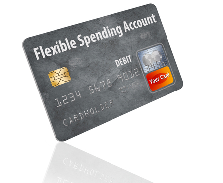 This is a flexible spending account (FSA) debit card. It is an illustration with generic logotype. It is isolated on the background. FSA is a form of health insurance account. Stock fotó