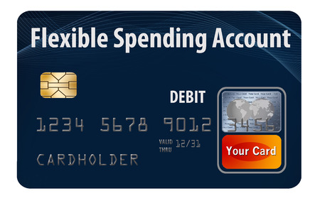 This is a flexible spending account (FSA) debit card. It is an illustration with generic logotype. It is isolated on the background. FSA is a form of health insurance account. Stock Photo