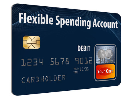 This is a flexible spending account (FSA) debit card. It is an illustration with generic logotype. It is isolated on the background. FSA is a form of health insurance account. 版權商用圖片