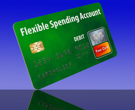 This is a flexible spending account (FSA) debit card. It is an illustration with generic logotype. It is isolated on the background. FSA is a form of health insurance account. Фото со стока