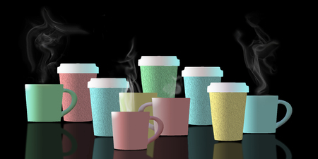 Coffee, a cup of coffee, is the subject of this illustration. Coffee cups are lined up and in pastel colors as they are reflected in the black foreground.