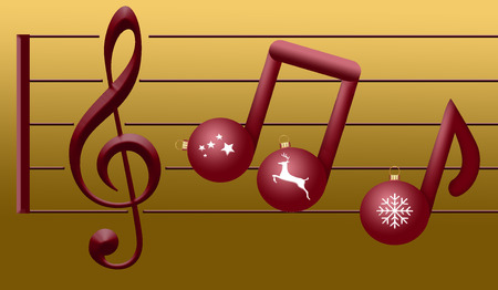 Musical notes made of Christmas ornaments float on a treble clef in this Christas holiday illustration about Christmas music. Stock Photo