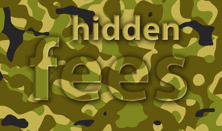 Hidden fees in financial documents are illustrated with the word fees in a camouflage design.