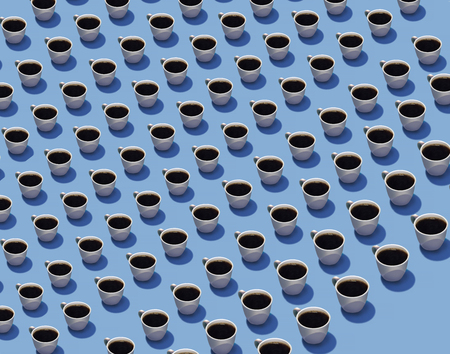 Cups of coffee in rows on a blue background are seen in this illustration. The theme of this background graphic is hot coffee drinks, expresso and lattes.