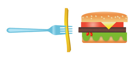 Here is a stylized image of a hamburger and french fries isolated on a white background. Archivio Fotografico - 108369468