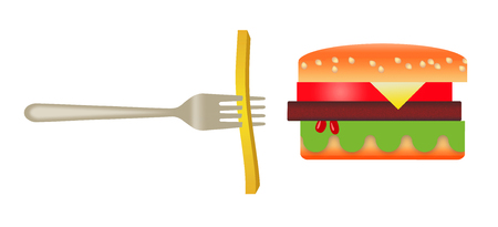 Here is a stylized image of a hamburger and french fries isolated on a white background. Archivio Fotografico - 108369472