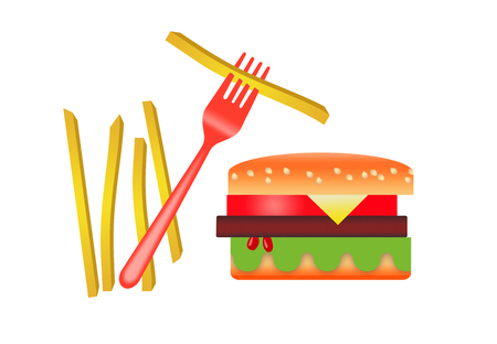 Here is a stylized image of a hamburger and french fries isolated on a white background. Archivio Fotografico - 108369473