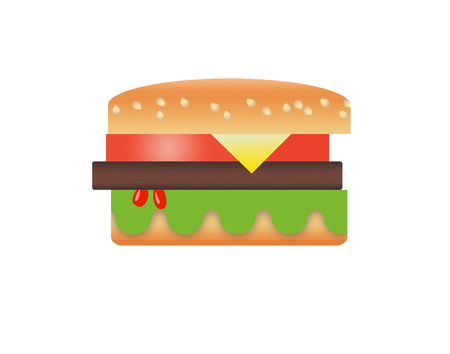 Here is a stylized image of a hamburger and french fries isolated on a white background. Archivio Fotografico - 108369601