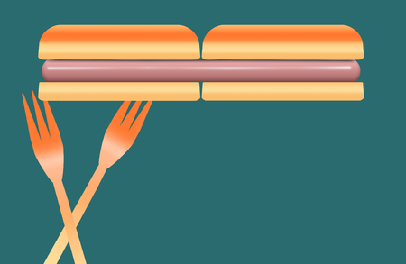 Hotdogs are the topic of this colorful image of hotdogs, buns and plastic picnic forks. This is an illustration.