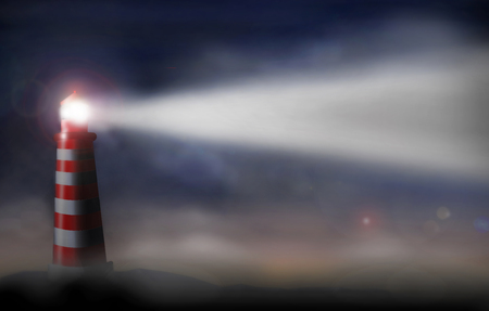 A lighthouse in red and white is seen shining brightly on a foggy night. This is a fictional scene of a guiding light. This is an illustration. Imagens