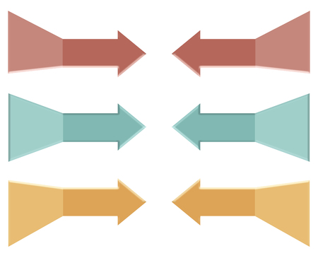 Arrows point and come in handy to make a point in an illustration. Here, colored arrows on a white background point to whatever it is you want noticed. This is an illustration. Stock Photo
