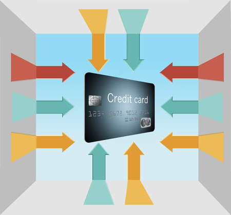 This must be THE credit card you need. Arrows, ten of them point at the generic credit card.  This is an illustration.
