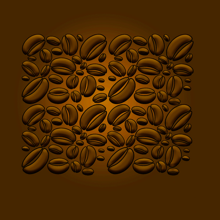 Here is a coffee bean themed illustration that is colorful and of a modern design. This is an illustration.