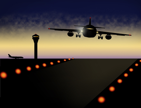 Air traffic around the airport is illustrated with planes and control tower at dusk in this image. This is an illustration.