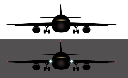Here is a generic image of an airliner head on, wheels down. This is an illustration. 写真素材