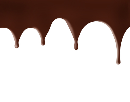 Chocolate, melting and dripping is at the top of the page that can be used as a background image.  This is an illustration. Stock Photo