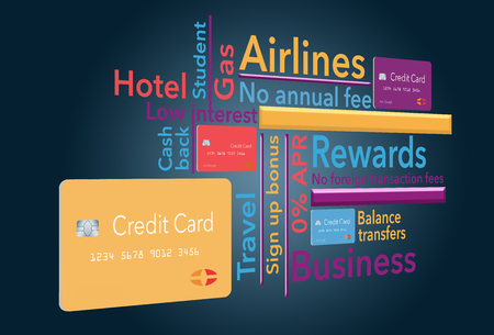 WHAT TYPE OF CREDIT CARD DO YOU NEED?- Fourteen different types of cards are included in this illustration that is colorful and interesting. Type and credit cards are included in the illustration.