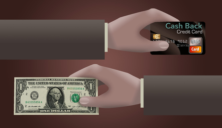Cash back credit cards are the subject of this illustration of a cash back credit card and a dollar passing from one hand to another. This is an illustration.