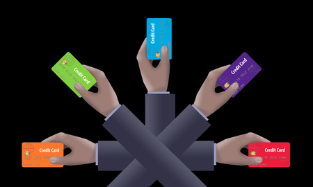 Multiple hands hold credit cards to represent comparing and choosing the right credit card. This is an illustration. Banco de Imagens