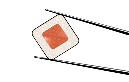 Here is a clean simple look at sushi and chop sticks. Tuna and rice in nori are shown here. This is an illustration.