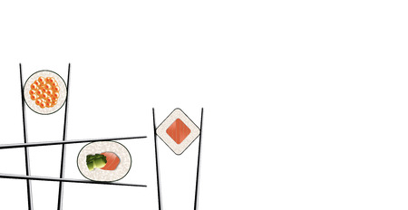 I love sushi is the title of this image. Here is a clean simple look at sushi and chop sticks. Tuna and rice in nori are shown here. This is an illustration.