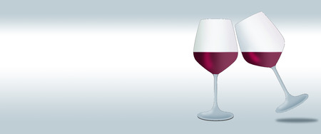 Two wine glasses containing a red wine are seen in an  illustration isolated on a white background that allows room for text.