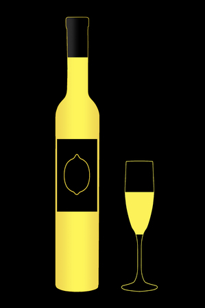 Here is a bottle and cordial glass of limoncello. This is an illustration. Stock Photo