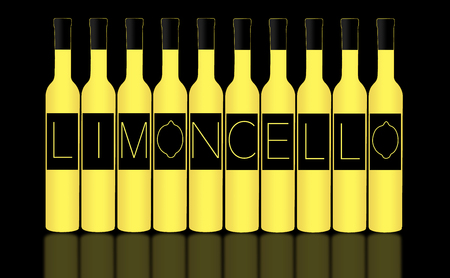 Limoncello is spelled out on the labels of limoncello bright yellow bottles on a dark background.  This is an illustration.