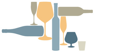 Liquor bottles and glassware are seen silhouetted in color in this background illustration.  This is an illustration.