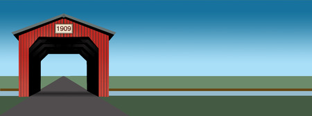 A bright red covered bridge is seen in an illustration that has clean simple lines and bright colors. It is an illustration.