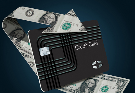 Cash back credit card rewards are illustrated here with a looping arrow made of dollar bills wrapping around a cash back card.