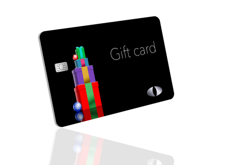 This is a holiday season gift card with a Christmas, winter, design. It is a pre-paid card that can be given as a gift.  It is an illustration. 写真素材 - 110401032