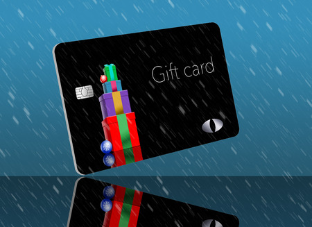 This is a holiday season gift card with a Christmas, winter, design. It is a pre-paid card that can be given as a gift.  It is an illustration. 写真素材 - 110401033