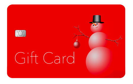 This is a holiday season gift card with a Christmas, winter, design. It is a pre-paid card that can be given as a gift.  It is an illustration. 写真素材 - 110401034