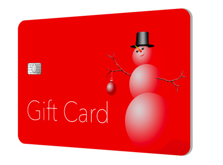 This is a holiday season gift card with a Christmas, winter, design. It is a pre-paid card that can be given as a gift.  It is an illustration. 写真素材 - 110401035
