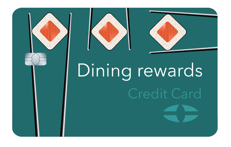 Here is a dining rewards  credit card featuring sushi and chopsticks in the card design. It is a generic, mock card. It is an illustration.