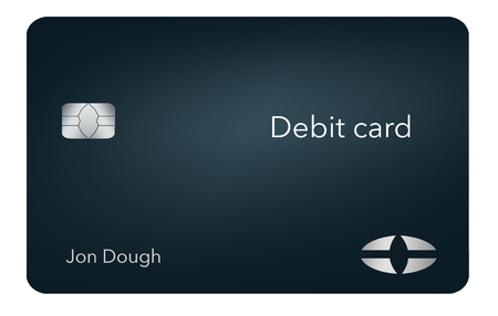 Here is a modern and stylish bank debit card. It is an illustration and is mock and generic to avoid any problems with trademarks or copyrights.