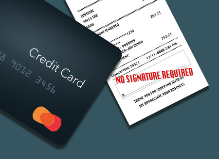 No signature required is the trend for credit card receipts. Here is an illustration of a credit card and receipt with the words
