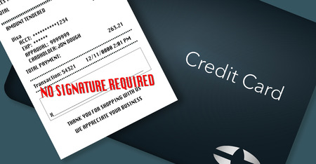 No signature required is the trend for credit card receipts. Here is an illustration of a credit card and receipt with the words No signature required on the receipt.