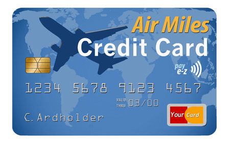 Here is a travel card, credit card, debit card on a white background with a world map design on the card. This is an illustration. Stock Photo