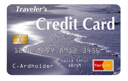 Here is a travel card, credit card, debit card on a white background with a world map design on the card. This is an illustration. Stock fotó