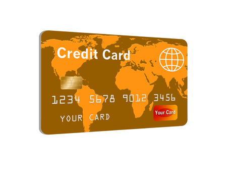 Here is a bank card, credit card, debit card on a white background with a world map design on the card. This is an illustration.