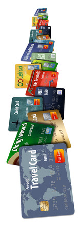 Credit cards, many of them are shown stacked and floating and flying in this photo illustration.