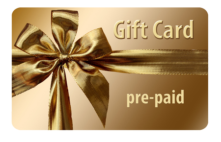 This is a pre-paid gift card. Prepaid card is isolated on background.