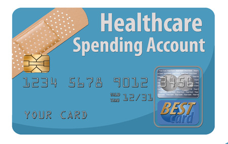 This is a generic HSA healthcare spending account debit card. It is an illustration and is about medical insurance and healthcare.