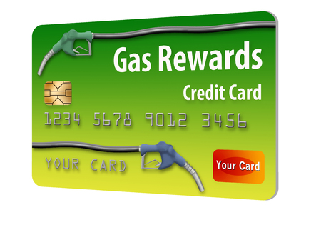 This is a gasoline rewards credit card that provides discounts on future gasoline purchases. It is an illustration isolated on a white background. 版權商用圖片