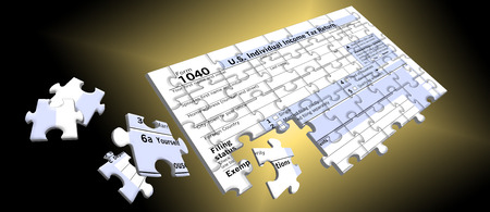 Here is a federal income tax form 1040 that is a jigsaw puzzle as people face the task of putting together a complicated tax return each year. This is an illustration isolated on the background.